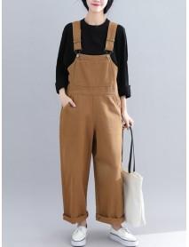 Casual Loose Straps Button Wide Legged Women Jumpsuit