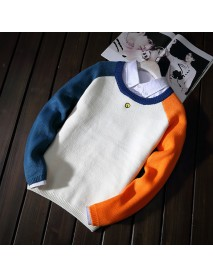 Men Casual Color Block Soft Simple O-Neck Pullovers Sweaters