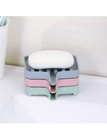 Bathroom Soap Box Wheat Straw Soap Dishes Bath Tools Storage Non-slip Grooved Drain Soap Shelf