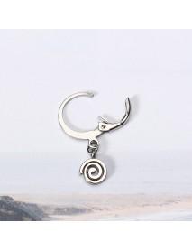 1 Piece Titanium Steel Hoop Earrings Cool 316L Stainless Steel Spiral Circle Pendant Unisex Jewelry