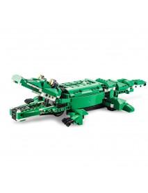 CaDA C51035 DIY 2 in 1 Dinosaur Crocodile Smart RC Robot Block Building Gesture Voice Interaction Robot Toy