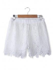 Fashion Women Casual Sweet Cute Elastic Waist Lace Shorts Short Pants