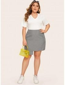 Plus Size Women Solid Color Irregular Hem Zipper Slim Skirts