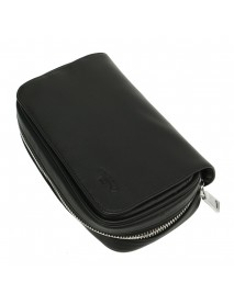 Black PU Leather Zipper Pouch For Smoking Pipe Smoking Device