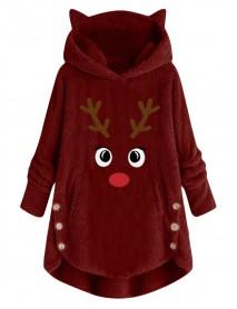 Christmas Cartoon Elk Embroidery Irregular Hem Hooded Fleece Sweatshirt Coats