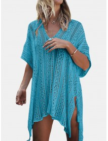 Women Crochet Solid Color Hollow Out Breathable Sunscreen Cover Ups