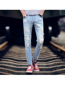 Hole Jeans Men's Season New Youth Fashion Slim Casual Nine Pants Men's 9 Points Pants Tide