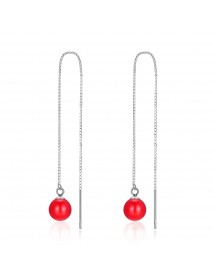 INALIS S925 Sterling Silver Lucky Red Bead Pendant Earrings for Women Jewelry Gift