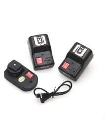 W&5 PT-16GY 16 Channels Wireless Flash Trigger Transmitter Set with 2 Receivers for Camera