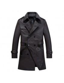 Mens Faux Leather Jacket Mid Long PU Coat