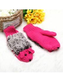 Women Cartoon Hedgehog Gloves Knitting Thickening Cute Mouse Gloves Winter Girls Finger Mittens