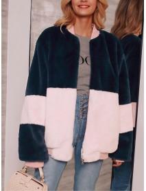 Contrast Color Zipper Villus Coats with Pockets
