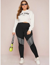 Plus Size Women Fashion Alphabet Print Patchwork Sports Casual Leggings
