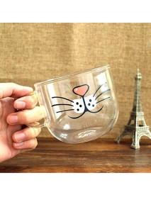Handmade Cartoon Glass Cup High Temperature Resistant Transparent Water Mug Cat Pig Nose Pattern Glass Mug
