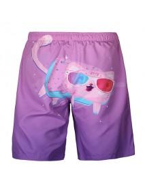 Cartoon Cat Printing Summer Casual Beach Board Shorts for Men