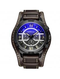 CRRJU 2142 Men Fashion Sport Watch Leather Strap Chronograph Calendar Quartz Watch