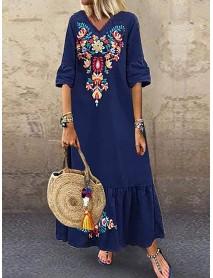 Bohemian Floral Print V-neck Flare Half Sleeve Beach Maxi Dress