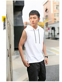 Men Casual Solid Color Hoodie Vests Cotton Sleeveless Bottoming Tank Tops