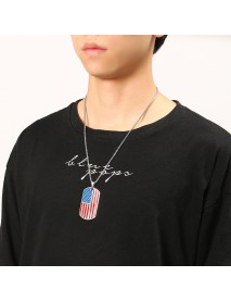 American Flag Sports Titanium Steel Necklace Trendy Unisex Clothing Accessories for Men Women