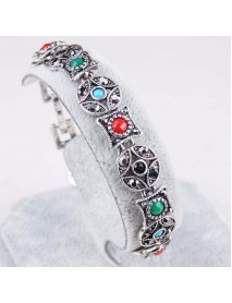 Bohemian Silver Ruby Bracelet Ancient Coin Shape Multicolor Gemstone Diamond Bracelets for Women
