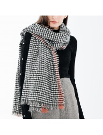 190*70CM Women Winter Warm Acrylic Plaid Scarf Outdoor Large Size Shawl with Tassel