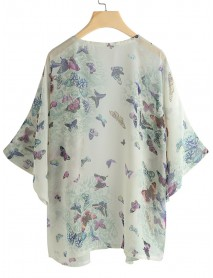 Bohemian Women Butterfly Print Half Sleeve  Loose Cardigans