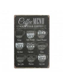 Coffee Menu Sheet Metal Drawing Metal Painting Tin Cafe Wall Tavern Poster Sign