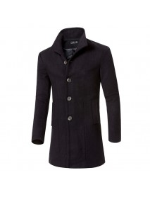 Stylish Slim Fit Mid Long Single-breasted Woolen Trench Coat for Men