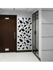 Honana DX-Y5 12Pcs Cute Silver DIY Pebble Shape Mirror Wall Stickers Home Wall Bedroom Office Decor