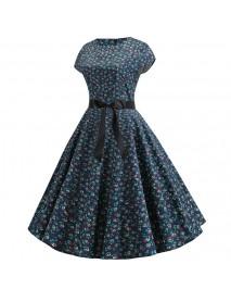3d Retro Hepburn Wind Digital Print Big Swing Skirt Waist Dress Dress Female 344