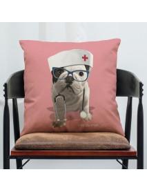 45 x 45 cm French Bulldog Printed Pillowcase Cotton Linen Sofa House Decoration Cushion Cover Pillow Case