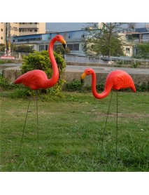 1 Pair Red Lawn Flamingo Figurine Plastic Party Grassland Garden Ornaments Decor