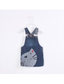 Girl Cute Cat Printed Toddler Denim Straps Suspender Dress For 2Y-9Y