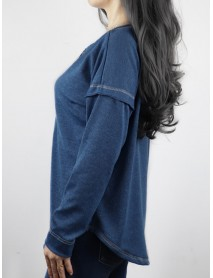Autumn Winter Long Sleeve Patchwork Buttons Loose Casual T-shirts