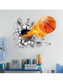 Fashion 3D Basketball Wall Sticker Green Poster Art Stickers Kids Rooms Home Decoration Accessories