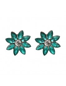 Elegant Rhinestones Colorful Flower Crystal Stud Earrings Gift for Women