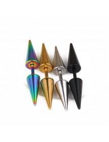 Fashion Men's Dangle Earrings Cone Gold Black Titanium Steel Earring Accessories for Men