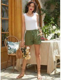 Elastic Wasit Casual Loose Solid Side Pocket Wide Leg Shorts