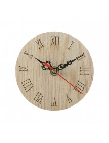 12cm Round Wooden Table Clock Battery Powered Office Home Living Room Decor
