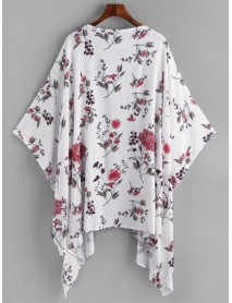 Casual Women Loose Floral Print Batwing Sleeve Cardigans