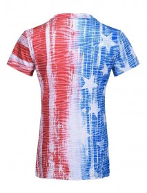America Flag Print Independence Day V-neck Casual T-shirts