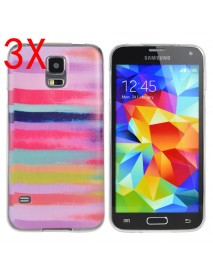 3XColored Drawing Stripe Pattern Case For Samsung S5 i9600