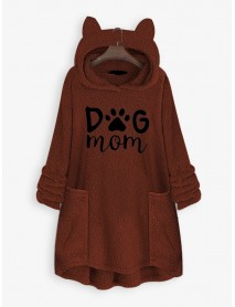 Casual Letter Embroidery Pocket Long Sleeve Fleece Hooded Sweatshirt