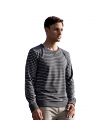 Autumn Winter Men's Cotton Casual Stripe Round Neck Pullover Thick Long-sleeved T-Shirts