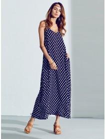 Summer Women Sexy Maxi Dress V-Neck Strap Dot Backless Pockets Dresses