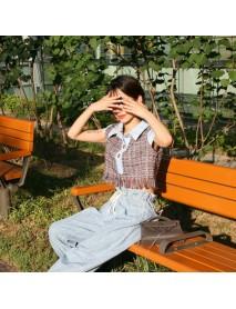 Korean Season New Retro Ocean Collar Tassel Rough Tweed Three Buckle Hit Color Stitching Short Shirt