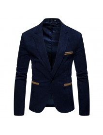 Mens Business Slim Suit Vintage Corduroy Stitching Color Casual Suits