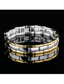 Classic Glossy Gold Business Health Titanium Steel Male Bracelet