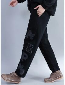 Casual Women Embroidery Printing Elastic Waist Pants