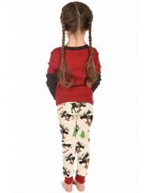 Fawn Print Christmas Parent-Child Long Sleeve Home Tracksuit Set